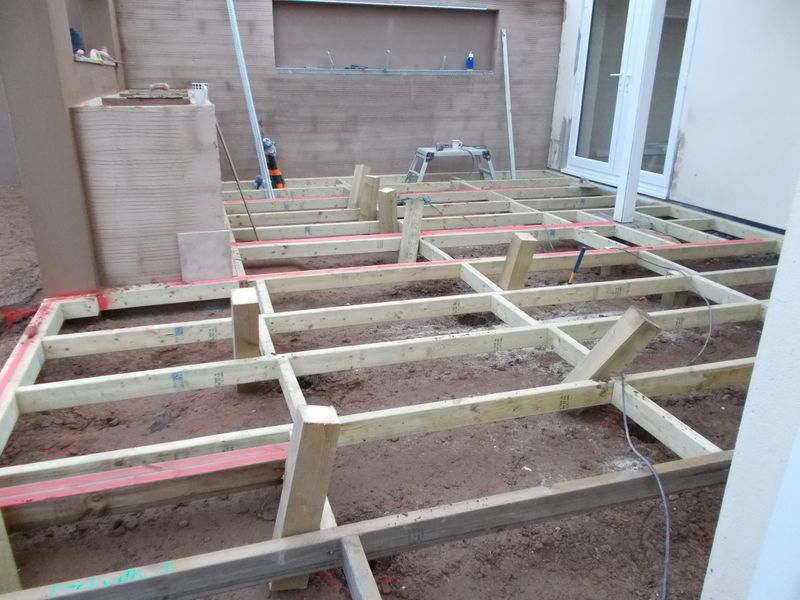 Composite decking main framework jacksons landscaping devon for Garden decking framework