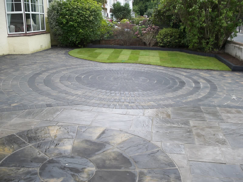 attractive circular designs we incorporated into a client's front garden