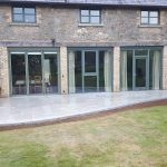 Granite light edging with porcelain paving, Devon