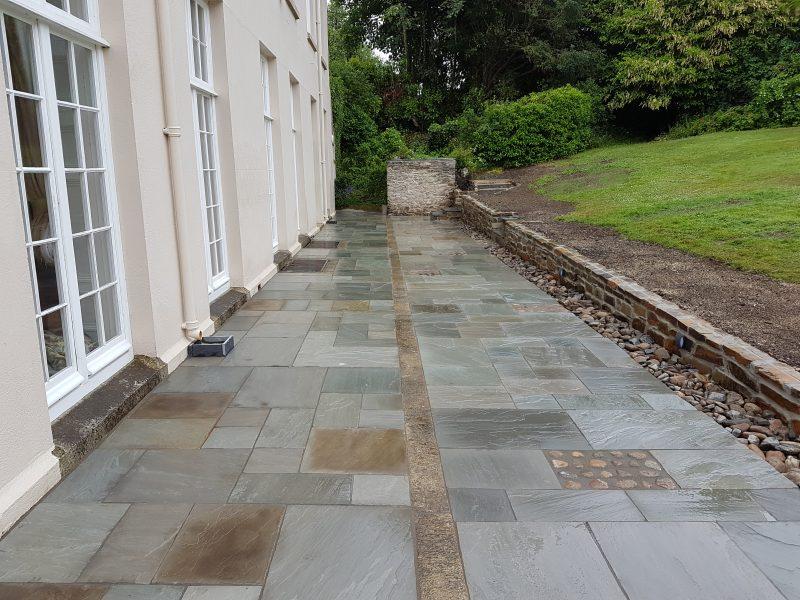 Natural Indian sandstone grey multi, granite, cobbles, natural stone walling, Totnes