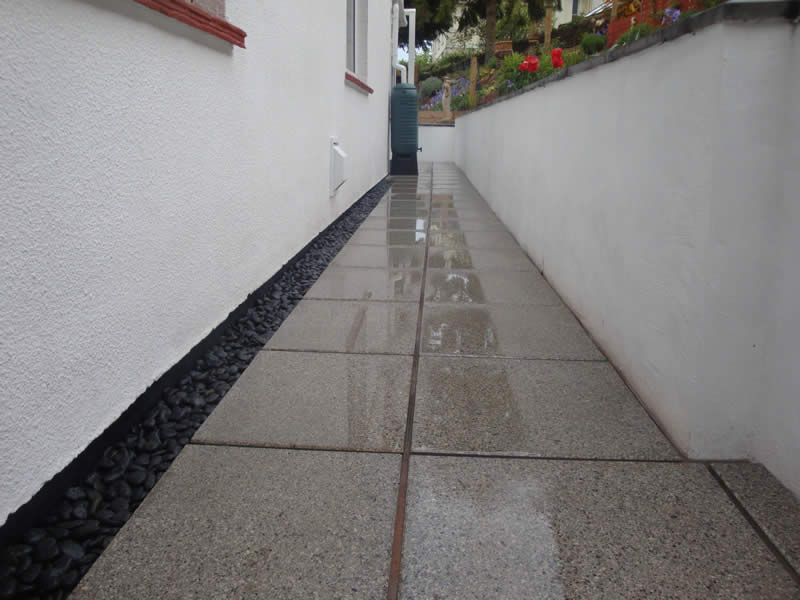 Argent light smooth patio paving slabs, Torquay