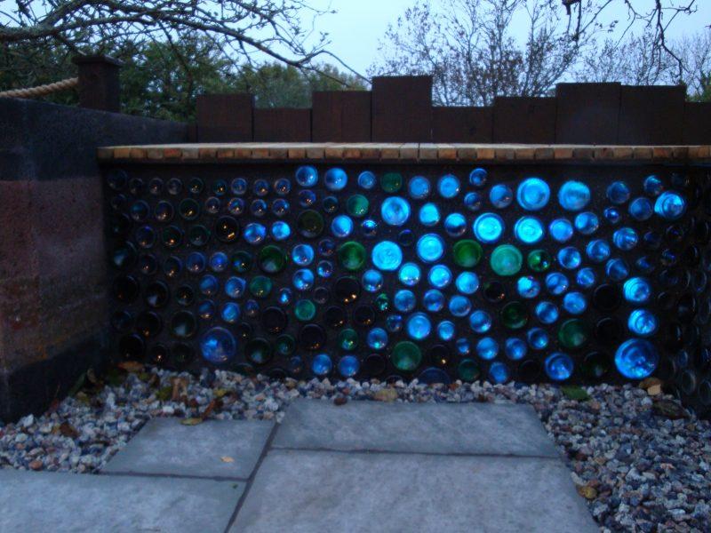 Led lighting omitted through beer bottles Churston Devon