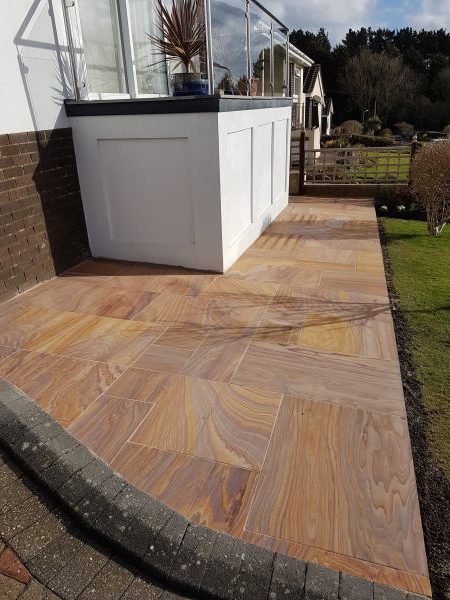Rainbow sandstone paving Kingsteignton