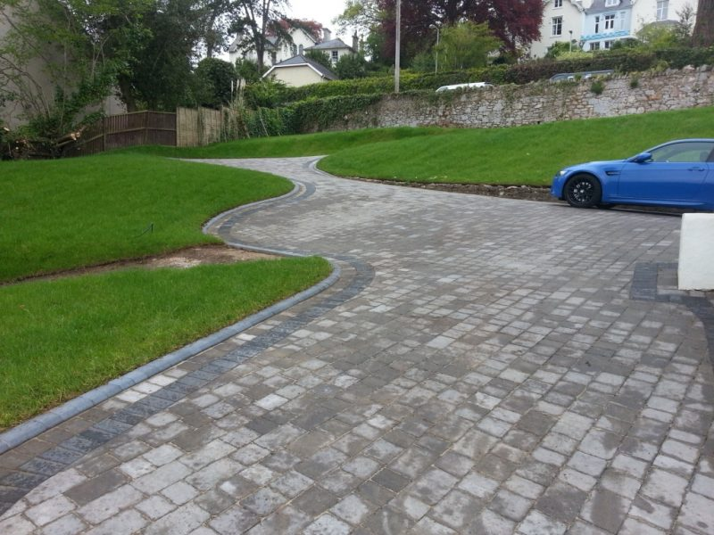 Marshalls pennant grey driveway with Argent border Charcoal kerbs, Devon