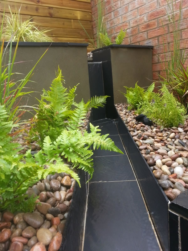 Natural blue slate water features Devon