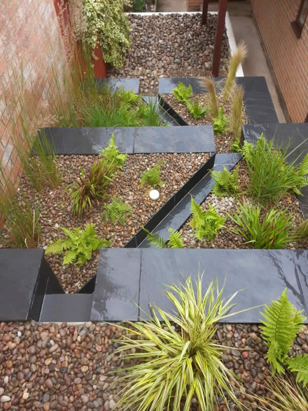 Water feature rill with slate Abbotskerswell Devon