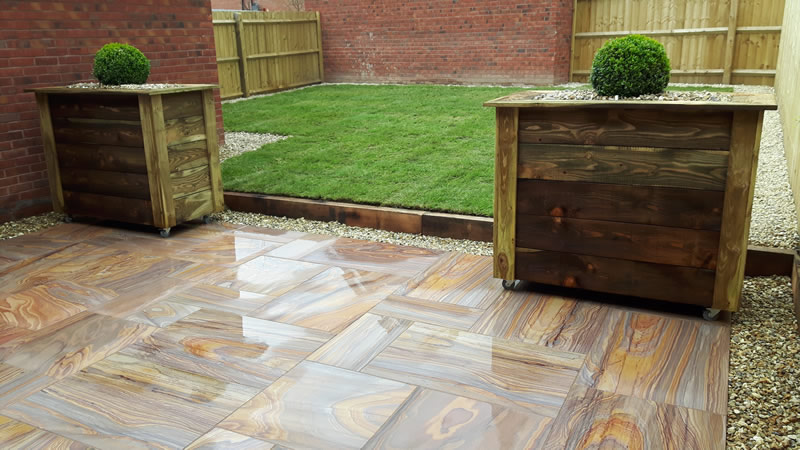 Sandstone rainbow paving Kingsteignton