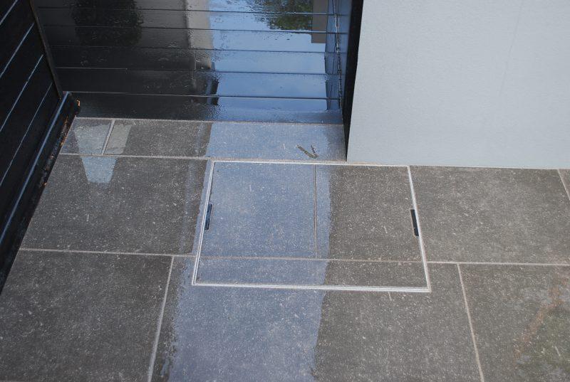 Recessed paving tray manhole detail South Hams