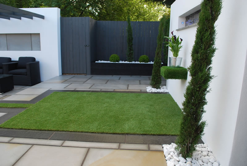 Modern gardens with artificial lawn