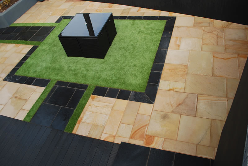 Marshalls black slate with fairstone patio paving