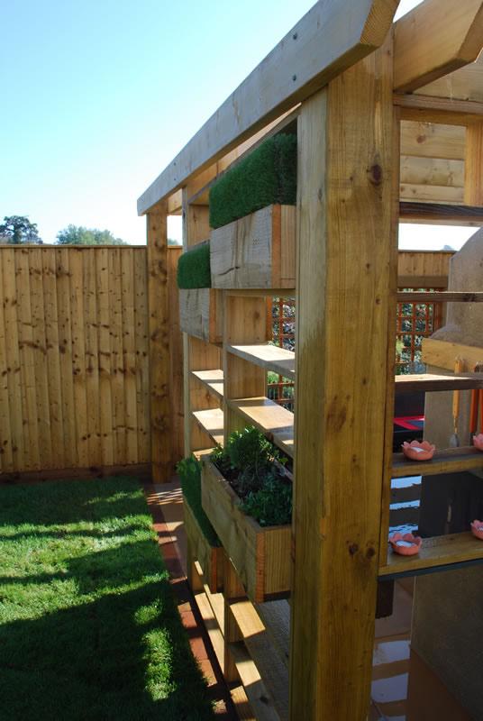 Garden pergolas built in herb garden